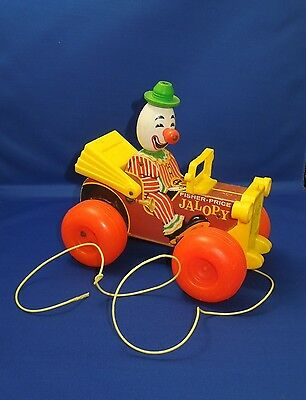 Vintage Fisher Price Jalopy Clown on Car Wooden Pull Toddler Toy