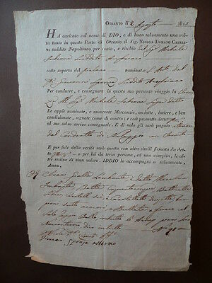 Documenti Nolo Manoscritto Imbarco Mercanzie Otranto 1815 Olii