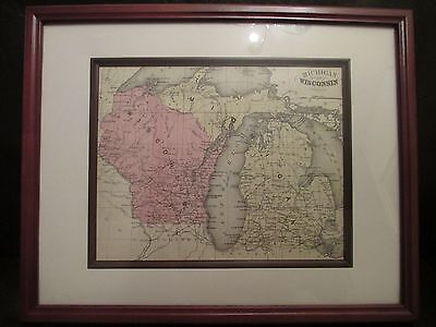Framed Antique Map of Wisconsin and Michigan from the 1800's Hand Colored