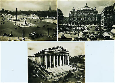 Lot: 3 Paris, France Real Photo: Eiffel Tower, Opera, Church. Busy Streets, '40s