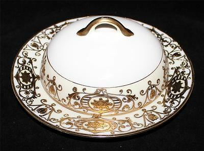 """Noritake 175 Christmas Ball Ornament Covered Butter 7 1/2"""" Gold Moriage 16034"""