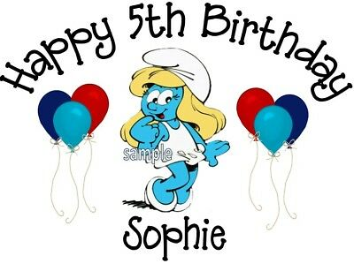 Smurfette Smurf Inspired Personalized Birthday T-shirt Name Tee