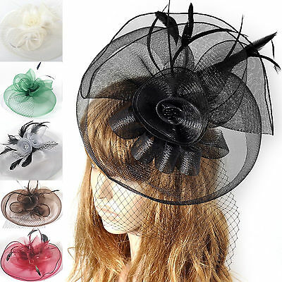 lady women hair accessory clip fascinator large netting hat handmade wedding new
