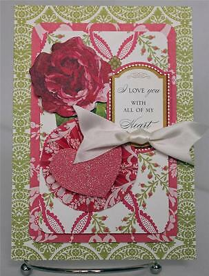 HAPPY ANNIVERSARY WIFE LOVE YOU FLORAL HANDMADE GREETING CARD ANNA GRIFFIN