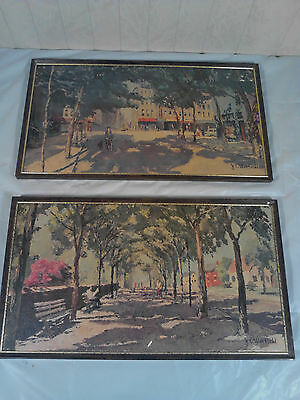 Lot Of Two Vintage J.e. Warfield Sign Paintings