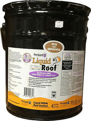 Liquid Roof  EPDM RV roof coating - 4 Gallon -for roof leaks, repair, sealing