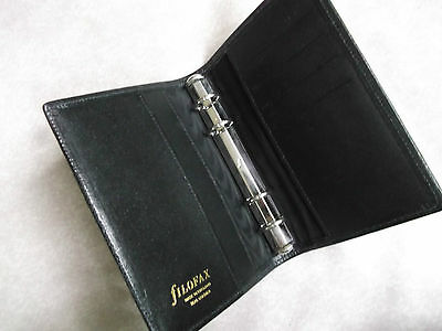 Filofax Wallet Leather Slim Pocket File Black Organiser New 15Mm Ring Diameter