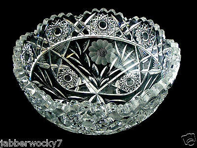 AMERICAN BRILLIANT CUT CRYSTAL ETCHED GLASS BOWL DISH FLOWERS