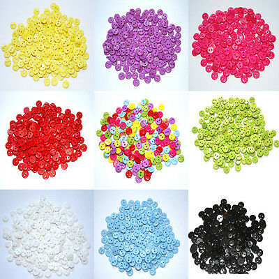 200 x 9mm Mixed Buttons Small Round Two Hole Acrylic Buttons Sewing Scrapbook