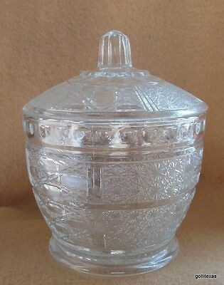 Vintage Pressed Glass Candy Dish Jar with Lid Clear 5.5""