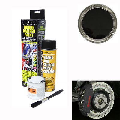 E-Tech Brake Caliper Engine Paint Kit - Paint, Cleaning Spray + Brush - Black