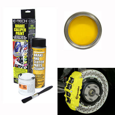 E-Tech Brake Caliper Engine Paint Kit - Paint, Cleaning Spray + Brush - Yellow
