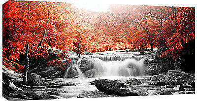 LARGE WATERFALL BURNT ORANGE TREES CANVAS WALL ART PICTURE 103 x 52 cm 3cm frame