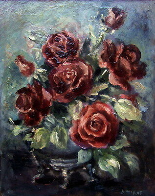 DORA MCRAE Vas of Roses Oil Painting