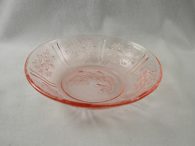 "Federal Glass Sharon / Cabbage Rose Pink 5"" Berry Bowl"