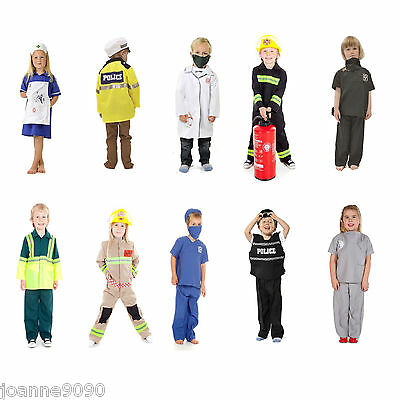 Children's Kids Boys Girls Emergency Services Work Fancy Dress Up Costume Outfit