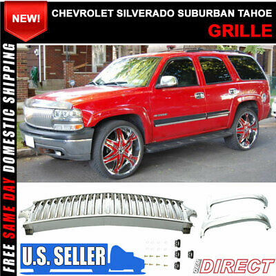 Fit For 99-02 Silverado 00-06 Suburban Tahoe Vertical Style Grill Grille Chrome