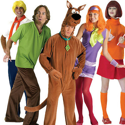 Licensed Adult Scooby Doo Fancy Dress Costume Halloween Outfit Wig Mens Ladies