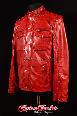 77fbd6a19 BLOUSON JACKET MENS Cherry Red REAL LEATHER STRONG CLASSIC JACKET ...
