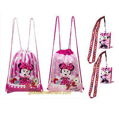 Disney Minnie Mouse Drawstrings Backpack  & Minnie Mouse Lanyards 4 pack