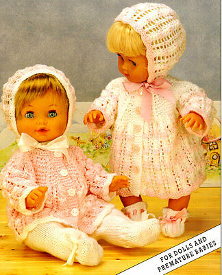 "Doll /Baby  Premature or Reborn 12"" - 20"" Matinee Sets (2) DK  Knitting Pattern"