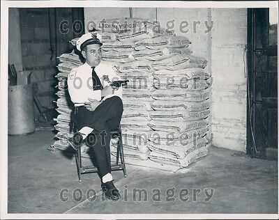 1950 Brooklyn NY Police Sgt R Walker with Pistol Guards Cement Press Photo