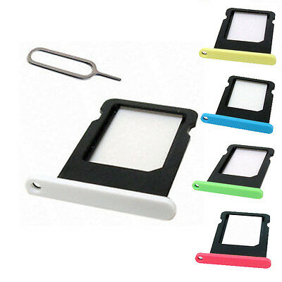 Replacement Coloured Nano Sim Card Tray Slot Holder Part for Apple iPhone 5c