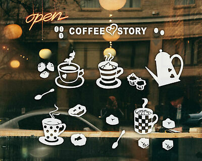 Coffee Cafe Window Wall Stickers Vinyl Sign Decal Business Decor Art Removable