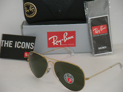 RAY BAN 3025 AVIATOR GOLD W/ NATURAL GREEN POLARIZED  RB 3025 001/58 62mm  LARGE