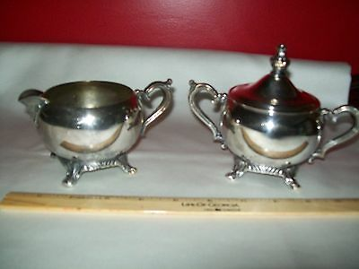 SILVER PLATED FOOTED CREAMER AND SUGAR BOWL DISH WITH LID