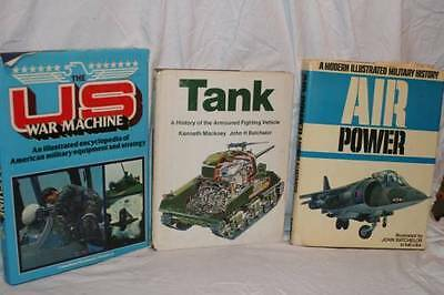 "LOt 3 ~ 1970s Vintage BOOKS 'Air Power' ""TANK' ""US WAR MACHINE' Military"