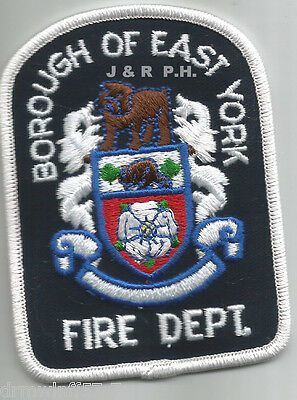 "Defunct - Borough of East York - White, Canada  (2.75"" x 3.75"" size)  fire patch"
