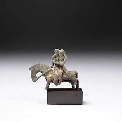 Ancient Near Eastern Bronze Figure Of An Embracing Couple On Horseback - 1000 BC • CAD $2,016.00