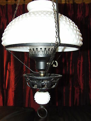 Vintage Victorian White Milk Glass Hobnail Retractable Pull Down Ceiling Lamp