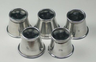 Aluminium Loupe eyeglass set of 5 different strengths watchmakers repairs tool