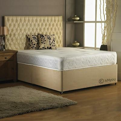 HF4YOU SUEDE BACKCARE MEMORY FOAM DIVAN BED-4 COLOUR OPTIONS3ft/4ft/4Ft6/5ft/6ft