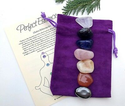 Chakra Set - 7 Piece - Crystal Tumblestones - Large - With Velvet Pouch