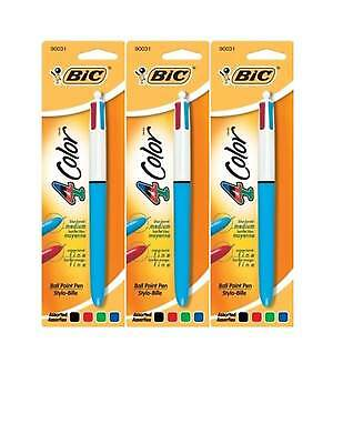 Bic 4-Color Pens, Medium Ball Point - Black, Blue, Red, Green MMXP11, 3 Packs