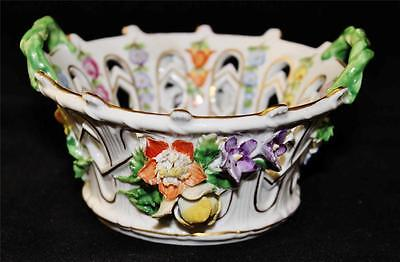 Original Dresden Reticulated Pierced Bowl with Applied Flowers