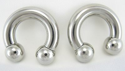 1 PAIR SURGICAL STEEL HORSESHOE BARBELL NIPPLE EAR RINGS LIP 16G TO 00G GAUGE