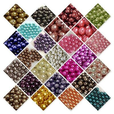 400 x 4 mm / 200 x 6mm / 100x 8mm / 50x 10mm Glass Pearl Beads Various Colour UK