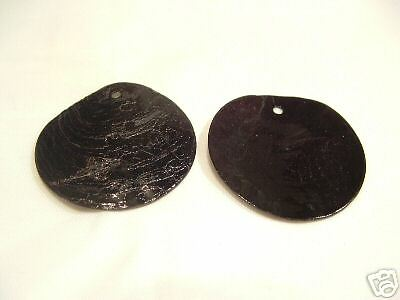25 x Natural Shell Dyed 18mm Bead Discs : BNS76 Black