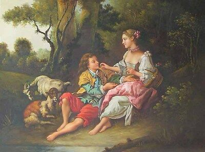Are They Thinking about the Grape? Francois Boucher Oil Hand Painted Reproduct
