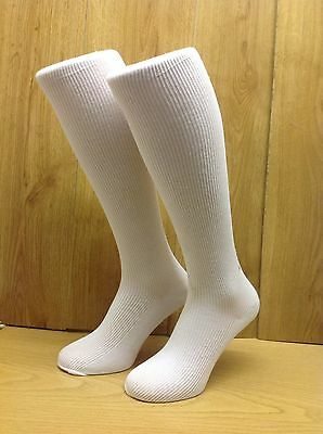 Girls quality School Socks 6 PAIR PACK  Knee High in WHITE **UK MADE**