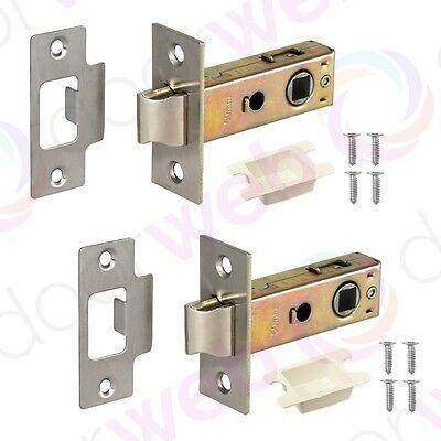 2 x MORTICE TUBULAR LATCH Internal Quality Door Catch Sprung Lever Satin Zinc