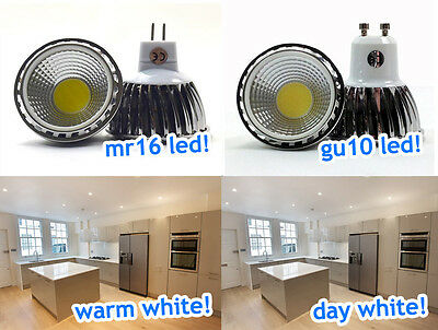 Dimmable Gu10 / Mr16 6W Cob Led Bulbs Lamps Spotlights Day Warm White