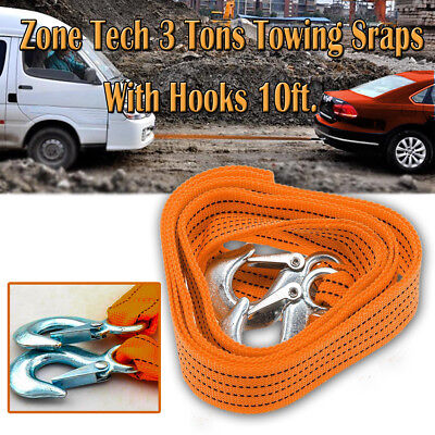 Zone Tech Rope Car Tow Towing Strap Hooks Cable Heavy Duty Emergency 3 Tons 10Ft