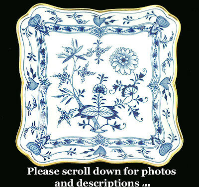 "Wonderful Antique 9 in Squared Meissen Germany ""Blue Onion"" Serving Dish /  Bowl"