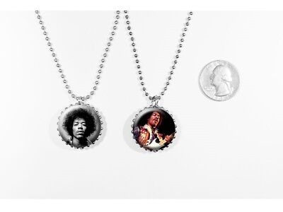 Jimi Hendrix Rock and Roll Guitarist Old School 2 sided necklace