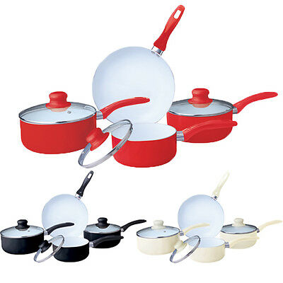 7Pc Ceramic Cookware Set Saucepan Pot Glass Lid Kitchen Fry Pan Frying Non Stick